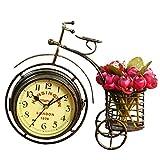 rising・sun おしゃれ な 自転車 型 両面 文字盤 置時計 小物入れ付き (ブロンズ、小物入れ付)