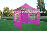 10x10 Pop up 4 Wall Canopy Party Tent Gazebo Ez Pink Zebra F Model - 2013 Upgraded Model