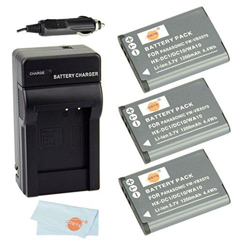 Dste® Kit (3-Pack) Vw-Vbx070 Rechargeable Li-Ion Battery + Charger Dc89 For Panasonic Hm-Ta2, Hm-Ta20, Hx-Dc1, Hx-Dc10, Hx-Dc10Eb-K, Hx-Dc10Ef-K, Hx-Dc10Gk, Hx-Dc15, Hx-Dc1Eb-H, Hx-Dc1Eb-K, Hx-Dc1Eb-R, Hx-Dc1Eb-W, Hx-Dc1Ef-H, Hx-Dc1Eg-H, Hx-Dc1Eg-P, Hx-Dc