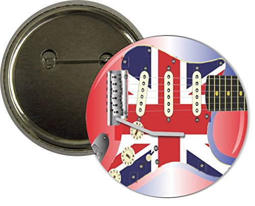 Rikki Knighttm Electric Guitar With A Union Jack Scratchplate Design 2.25 Inch Pinback Button Badge