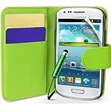 Generic B00A9WSNG2 Buchstil Klapp Lederoptik Hülle für Samsung Galaxy S3 Mini I8190 mit Karteneinschub/Magnetverschluß/Mini Eingabestift grün