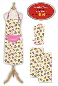 east2eden Special Offer Cupcake Kitchen Textile Deal Apron Oven Glove Tea Towels Set