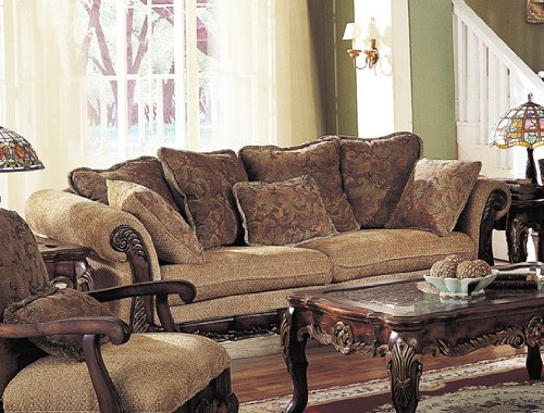 Sofa Couch With Wooden Frame Brown Floral Chenille Fabric
