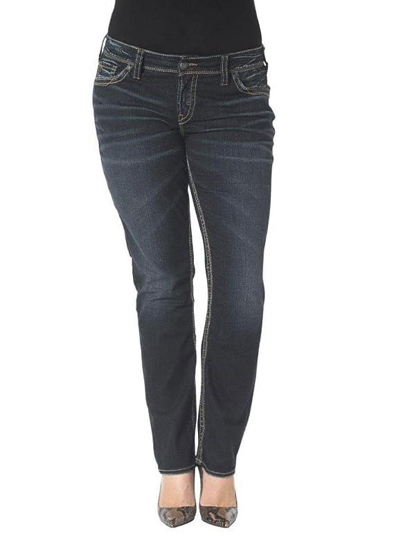 Silver Jeans Women Plus Suki Straight Leg Mid Rise Curve Fit Stretch in Dark Blue