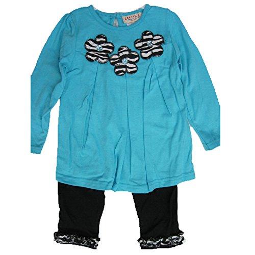 Carter's Baby Girls Blue Flower Applique Ruffle 2 Pc Leggings Set 18M