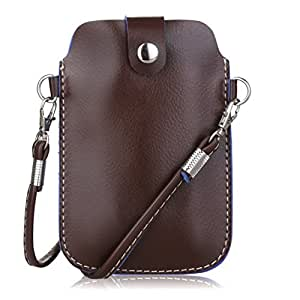 Kiwuu Multipurpose Classic Style Luxury Soft Pu Leather Phone Case Pouch/cross Body Bag with Strap Size Less Than 5.2 Inch (Brown 4)