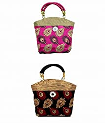 Kuber Industries Women Mini Handbag 10*10 Inches 2 Pcs Set in Stylish Design ,Wedding Collectio...