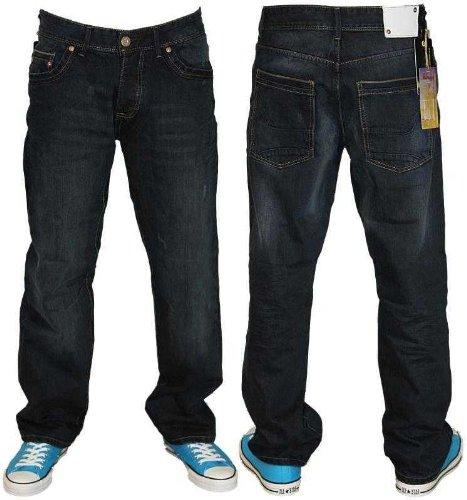Mens Tinted Dark Wash Le Breve Selvedge Designer Branded Loose Fit Jeans Size W30 L32