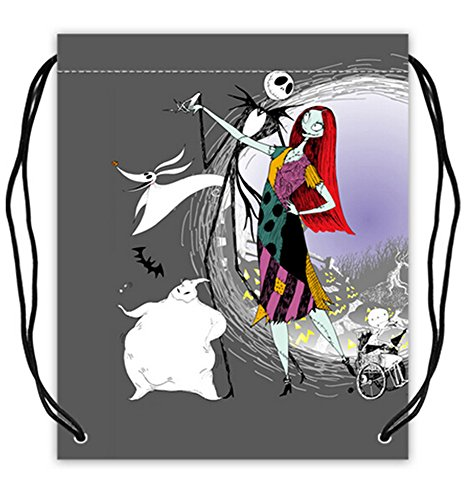 Jack And Sally Print Polyester Fabric Basketball Drawstring Bags Drawstring Tote