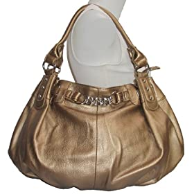 Large Bronze/ Gold Leather Lk Slouchy Hobo Satchel Handbag