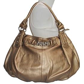 Large Bronze/ Gold Leather Lk Slouchy Hobo Satchel Handbag