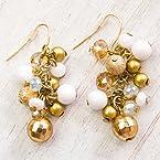 White Beaded Cluster Earrings