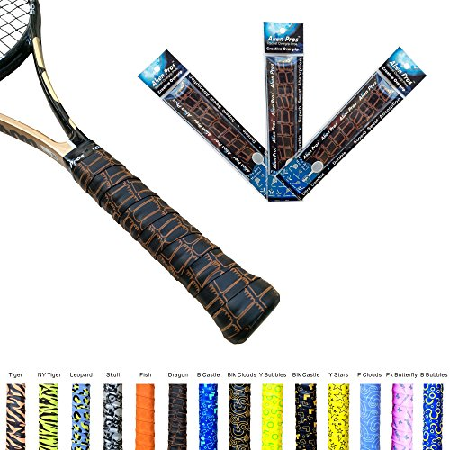 Alien Pros X-Tac Tennis Overgrip Tape perfect for your tennis racket, racquetball grip, squash racquet and more. 3-Pack, Dragon Skin Design