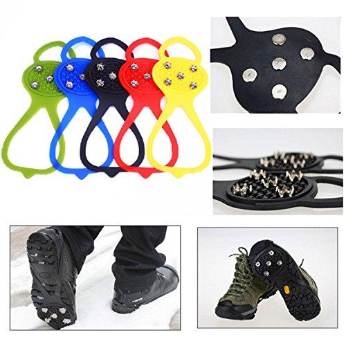 CAMTOA 5 Zahn Eis Schneeschuhen,Schuhspikes Spike Schuhe, Anti Rutsch Steigeisen für Schuhe Bergsteiger