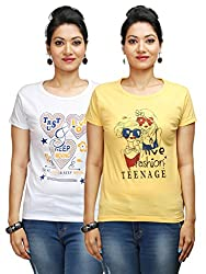 Flexicute Women's Printed Round Neck T-Shirt Combo Pack (Pack of 2)- Yellow & White Color. Sizes : S-32, M-34, L-36, XL-38