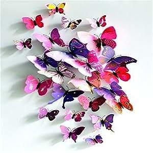 Amazon.com: AAAAA® 12 units 3D Butterfly Wall Stickers Decor Art ...