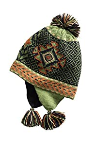 Tey-Art Aztec Alpaca Fleece Lined Fair Trade Earflap Hat (Green)