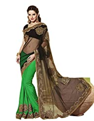 Infigo Women Green Raw Silk Embroidered Saree