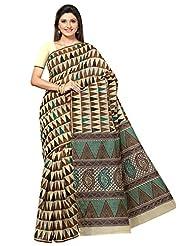 Designer Charming Beige Color Printed Cotton Saree By Triveni