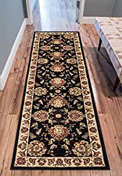 Sultan Sarouk Black Persian Floral Oriental Formal Traditional 3x12 (2\'7\