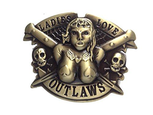 Ladies Love Outlaw Men Belt Buckles Metal for Leather Belt