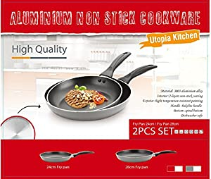 Utopia Kitchen Professional Oven Safe Nonstick 9.5-Inch and 11-Inch Fry Pan Cookware Set, Dishwasher Safe, 2-Piece