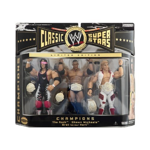WWE Jakks Pacific Wrestling Classic Superstars Exclusive Series 2 Action Figure 3Pack Champions The Rock, Shawn Michaels Bret The Hitman Hart by Jakks Pacific