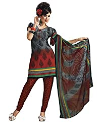 Variation Women's Grey Crepe Unstiched Dress Material (VD11930)