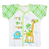 Baby Bucket Half Sleeve Front Open Animal Printed Jabla New Born (Green)
