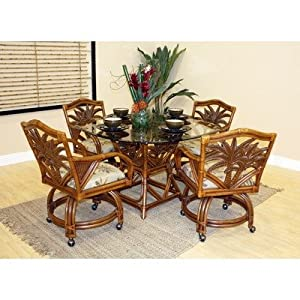 Cancun Palm 5 Piece Indoor Rattan Dining Set With Caster Chairs I