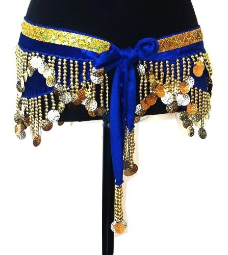 Belly Dance 2 Rows Beaded Coin Hip Scarf Belt Velvet Wrap -- ROYAL BLUE & GOLD