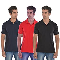 Pintapple Men's Cotton T-shirts (Pack of 3)(PA-TSC-DGH,Navy,Red and Black,Medium)