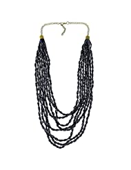 Black Beaded Twisted Strands Multi Layered Statement Necklace Indian Fashion