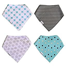 Bandana Drool Bibs with Snaps for Girls & Boys | 4-Pack Unique Gift Set by Gem Kiddy