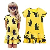 Hatop Kids Baby Girls Black Cat Printing Short Sleeve Dress Clothes (Age:4-5Y)