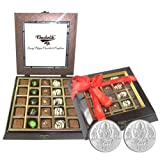 Chocholik Belgium Gifts - Exotic Flavours Of Chocolates With 5gm X 2 Pure Silver Coins - Diwali Gifts