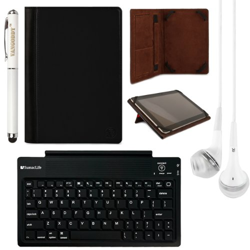 Mary Collection Leather Folio Case W/ Pop Stand For Samsung Galaxy Tab S 10.5 Inch Tablet + Bluetooth Keyboard + Laser Stylus Pen + White Headphones (Black) front-66206