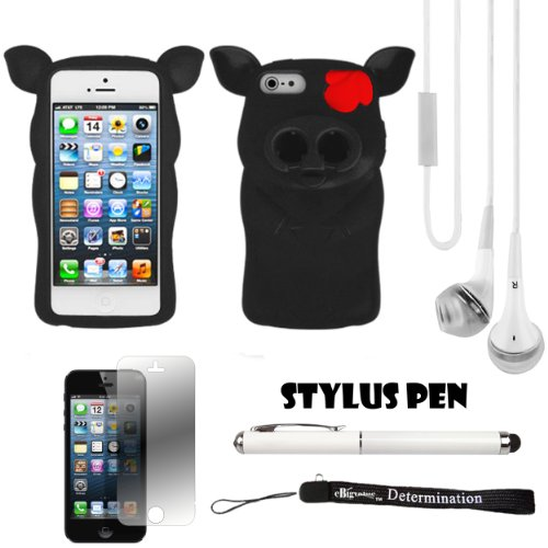 Black Pig Nose Durable Protective Silicone Skin With Earphone Wrap Access For Apple Iphone 5 Ios (6) Smart Phone + White Crystal Clear High Quality Hd Noise Filter Handsfree Earbuds ( 3.5Mm Jack ) + Apple Iphone 5 Screen Protector + Professor Pen 3 In 1 R