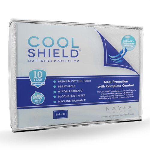 Cool Shield No Allergy Waterproof Mattress Protector - Breathable Terry Cover Protects Against Dust Mites, Allergens, Bacteria, Mold And Fluids - See Reviews - Machine Washable Mattress Protector - Best 10-Yr Guarantee - Size: Twin Xl (39 In X 80 In) front-1057210