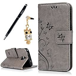 Galaxy S5 Mini Case - YOKIRIN Fashion Little Flowers [Wallet Style] Credit Card Holder Case Magnetic Design Flip Folio PU Leather Cover Stand Case for Samsung Galaxy S5 Mini SM-G800 SM-G800F-Grey
