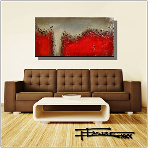 original-abstract-painting-modern-fine-art-48x24-red-falls-textural-gloss-finish-ready-to-hang-by-el