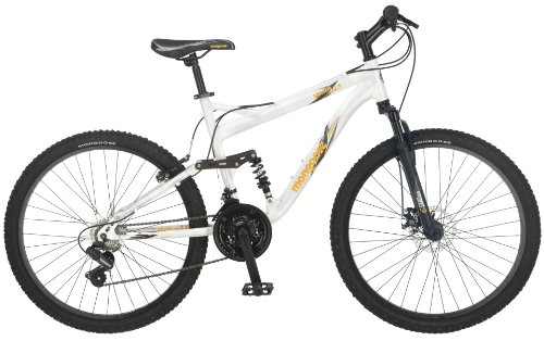 Mongoose Men's Status 2.4 Full Suspension Bicycle (26-Inch Wheels), White, 18-Inch