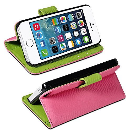 Mylife (Tm) Bubble Gum Pink And Lime Green - Modern Design - Textured Koskin Faux Leather (Card And Id Holder + Magnetic Detachable Closing) Slim Wallet For Iphone 5/5S (5G) 5Th Generation Smartphone By Apple (External Rugged Synthetic Leather With Magnet