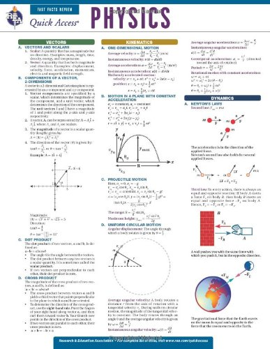 Physics - REA's Quick Access Reference Chart (Quick Access Reference Charts) (Quick Study Chart compare prices)