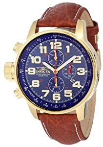 Invicta Men's 3329 Force Collection Yellow Gold and Leather