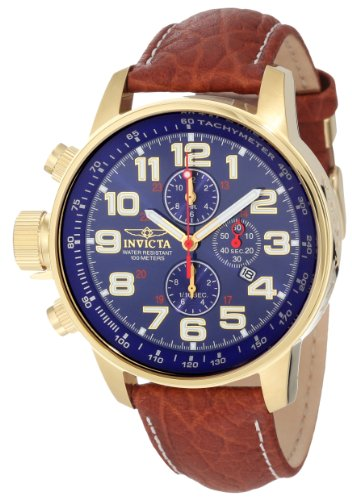 Invicta Men's Force 3329 Leather Chronograph Watch with Blue Dial