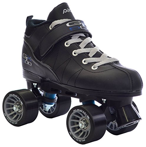Black-Pacer-Mach-5-GTX500-Quad-Speed-Roller-Skates-w-2-Pair-of-Laces-Gray-Black