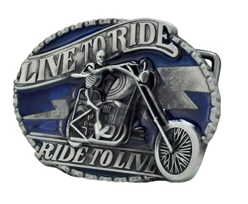 Buckle Rage LIVE TO RIDE Blue Skull Belt Buckle Biker Motorcycle Unique Metal
