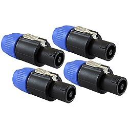 GLS Audio Speaker Plug Twist Lock 4 Pole Speaker Plug compatible with Neutrik Speakon NL4FC, NL4FX, NLT4X, NL2FC, Speak-On - 4 PACK from GLS Audio