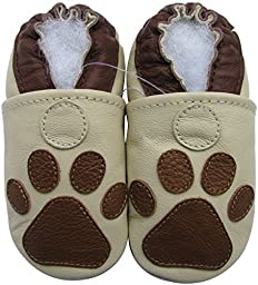 Carozoo baby boy soft sole leather infant toddler kids shoes Paw Cream 6-7y